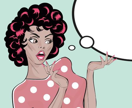 spokesperson: Stock Vector Illustration Shocked Gal - Retro Clip Art collection