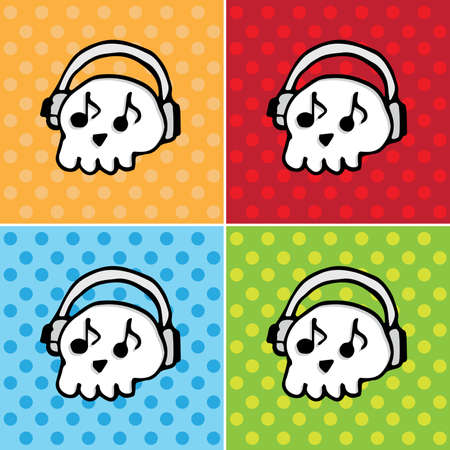 scull: SCULL with headphones Pop art Music backgrounds vector icons collection