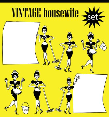 homemakers: Woman cleaning home or office  - Retro Clip Art illustration icons set Stock Photo