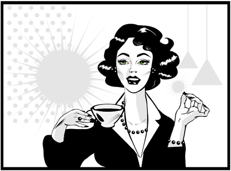 Coffee Lover vector poster with woman and cup of coffee in hand, Coffee time icon.One of fashion pinup illustrations Stock fotó