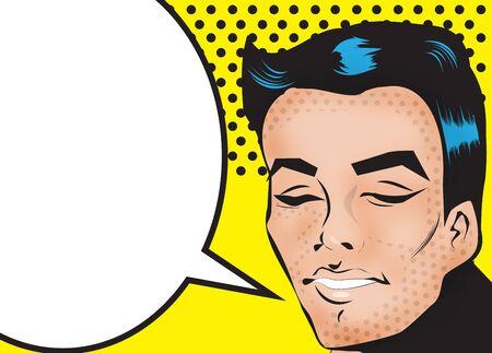 hair cut: Pop Art Man Say Fashion face with dark hair cut Stock Photo