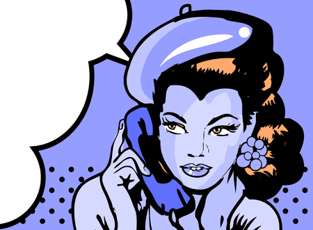 homemakers: retro woman in chat by phone retro background or banner