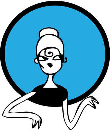 Doodles Strong Retro Woman Clip Art