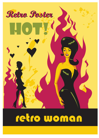 retro woman: Retro poster hot woman in love