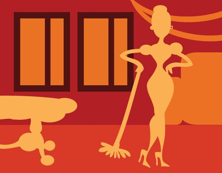 only mid adult women: Silhouette Woman doing housework on room background - retro poster, card