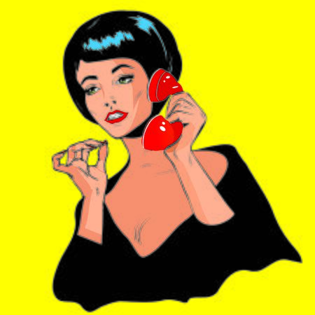clipart speaker: Lady Chatting On The Phone - Retro Clip Art vintage collection Stock Photo