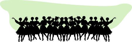 title: Vintage Title header Woman Silhouette