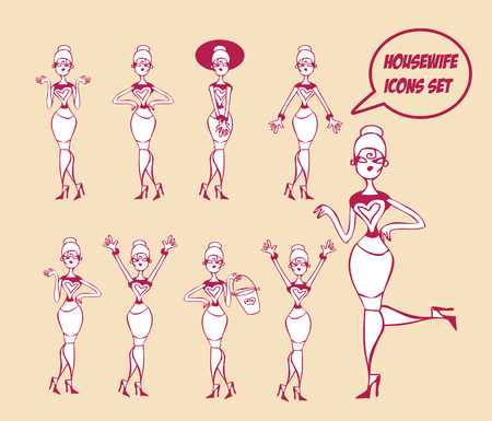 forties: Housewifes icons set - design elements collection Stock Photo