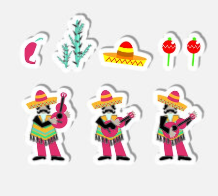artoon: ?artoon Mexican icons set music band nature and design elements stickers
