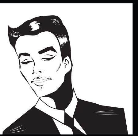 ben day dot: Pop Art Man -  dot and color illustration background