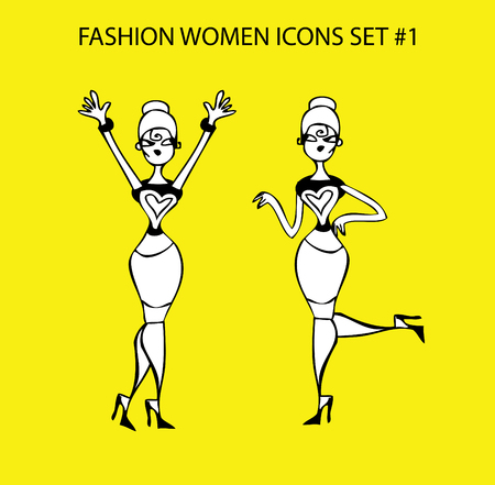 sucsess: Fashion woman icon doodles tattoo girls part 1 fashionable lady