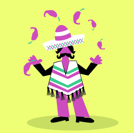 hispanic man with sombrero and large mustache olay with spoce peppe