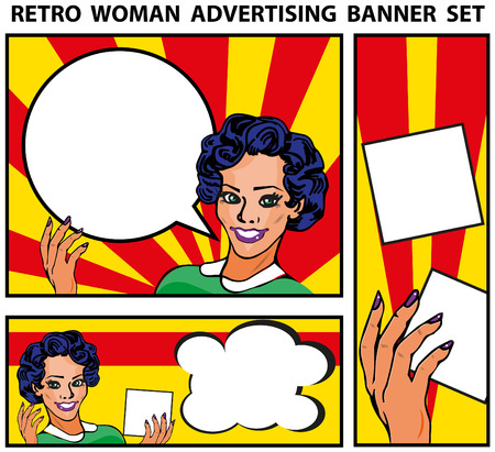 retro woman: Retro woman advertising banners set templates backgrounds Stock Photo