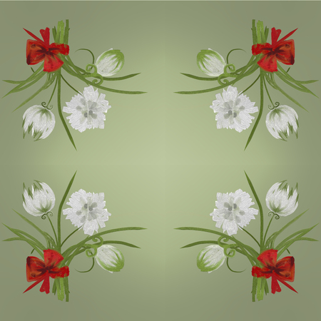 overblown: Retro white flower card background Hand Draw Stock Photo