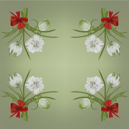 overblown: Retro white flower card background Hand Draw Stock Photo
