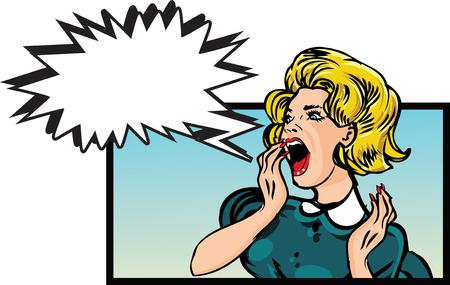 Scared woman - retro clip art Illustration