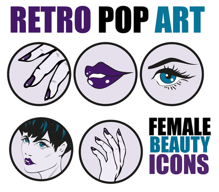 stylish woman: Pop Art Web site Icons Set - Beauty Woman Hand Nails Hair Face Lips Eyes Health Care and Cosmetic Signs Templates