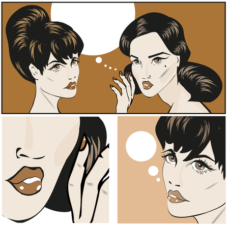 disbelief: Illustration of a Retro Classic Comics Women Gossip or Buzz Female secrets Stock Photo