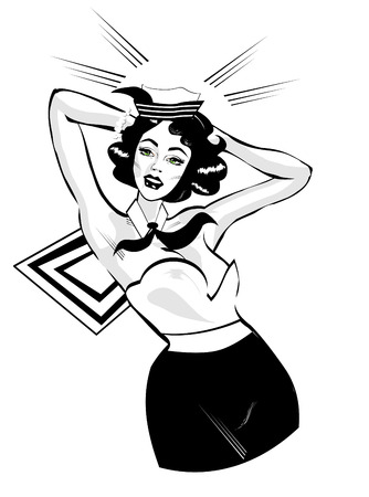 royalty free illustration: Clip Art Illustration of a Sexy Female Sailor Pinup retro poster