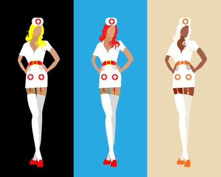 Sexy woman medical staff isolated on background set