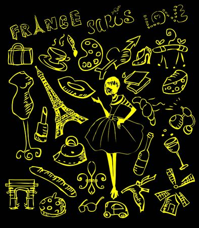 paris france: vector France, Paris icons set, background elements, woman shopping, cafe, travel
