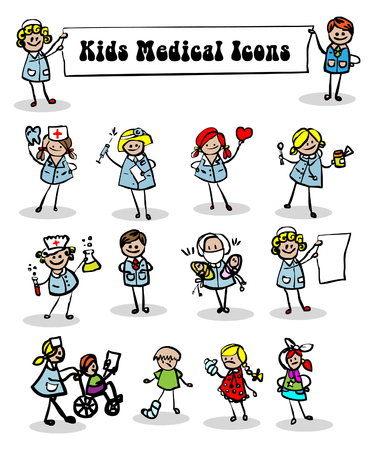 nurse home: medical icons set,kids cartoon kids & medical staff, medical equipments and people vector
