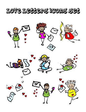 fidelidad: Cartas de iconos conjunto de Amor, ni�os estilo de dise�o, enviar mensajes emblemas Foto de archivo