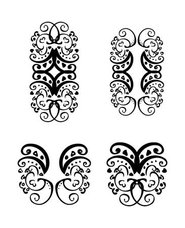 dingbat: Vintage tattoo ornaments design elements