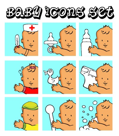 pampers: baby, child vector backgrounds, icons set, boy, girl, medical, food, game, bath,fake pampers tag Stock Photo