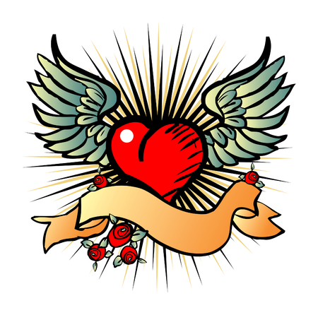 tatto: Tatto style emblem, vector love, flower, fly icon, symbol Stock Photo