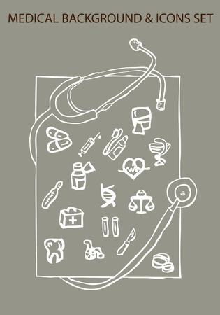 surgical needle: medical background and icons set, vector illustration Stock Photo