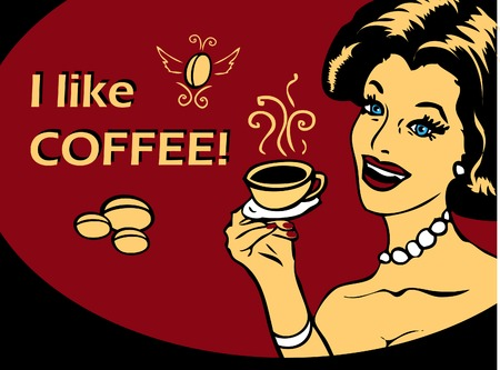 Coffee Lover vector poster with woman and cup of coffee in hand, Coffee time logo heart icon.One of fashion pinup illustrations Stock Photo