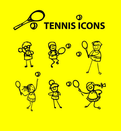 fake: Tennis icons, yellow fake cartoon sport emblems