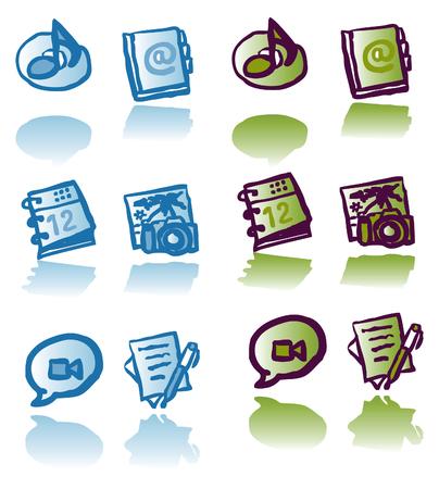 tunes: icons set - letter, photo, calendar, Address Book,Text Edit, Chat, Tunes, colors