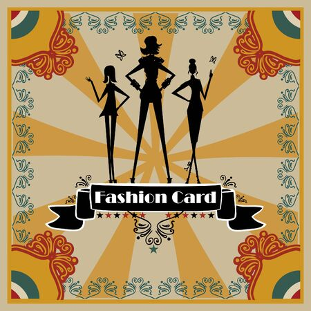 vintage fashion: Fashion Woman silhouette card, background, poster retro style