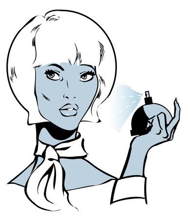 eau de toilette: Beautiful woman with perfumes, vector illustration background Stock Photo