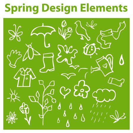 Lente ontwerpelementen, seizoen pictogrammen, tag, embleem
