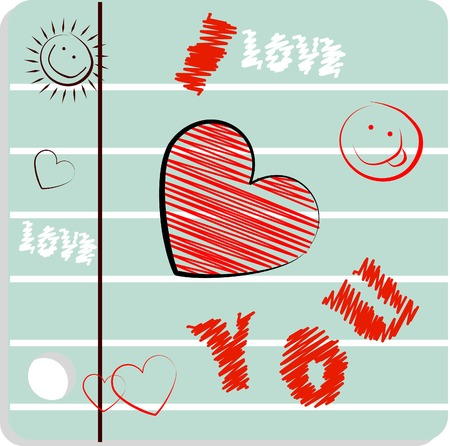 fake smile: Fake paper love card, congratulations, love emblem. Vector smile icons with heart on copybook paper background