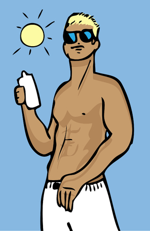 suntan: Vector man summer vacation background, poster, Travel, nature, Muscular male torso with suntan and sky