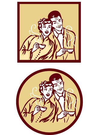40 s: Coffee or tea retro card poster. Woman and man with hot cup