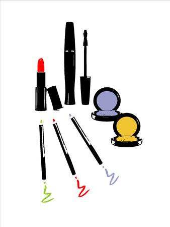 cosmetic pencil: Cosmetic icons set lipstick pencil lashes mascara eye shadow Stock Photo
