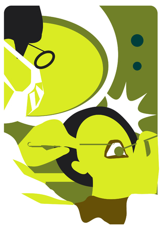 comunicacion oral: emblema médico dental de la ilustración Foto de archivo