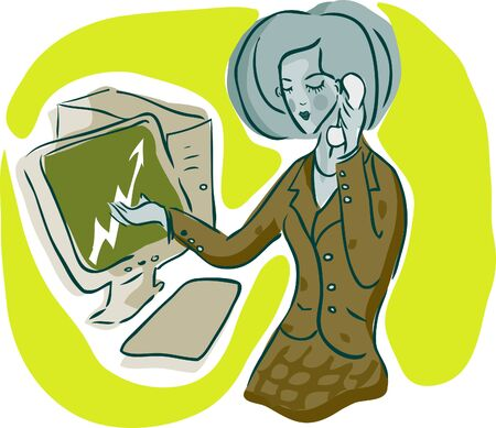 bisiness: Bisiness woman at work emblem, icon, illustration