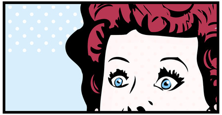 wide open: Cropped woman face pop art comic banner with Eyes Wide open