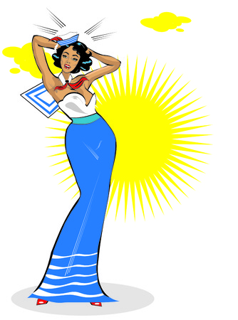 pinup: Vector Clip Art Illustration of a Sexy Female Sailor Pinup retro poster