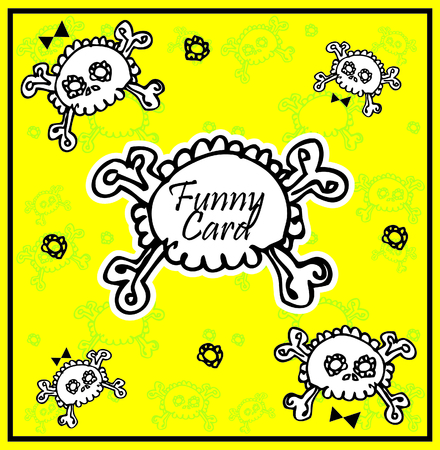 cute skull: Very cute Skull with bow on background with place for copytext