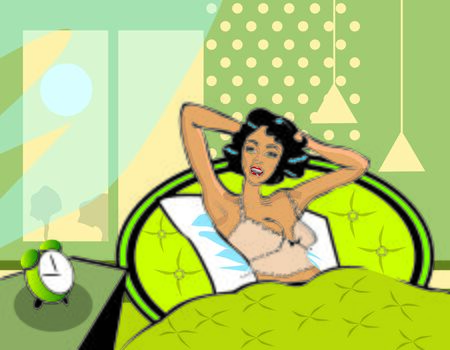 one bedroom: Wake up illustration A woman waking up from bed in the morning