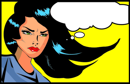 Retro looking angry woman Vintage clipart collection