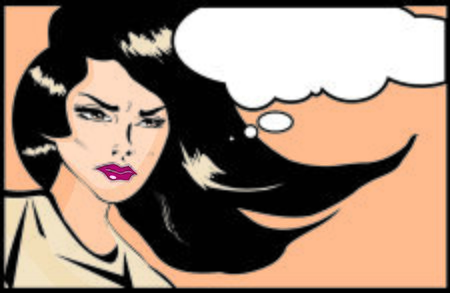 gal: Retro looking angry woman Vintage clipart collection