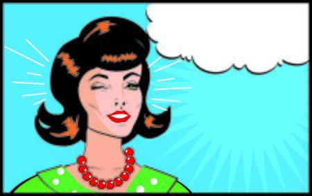 40s: Retro Woman Winking banner - Retro Clip Art comics style